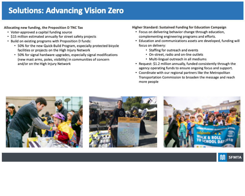Board highlighting the Solutions for Advancing Vision Zero