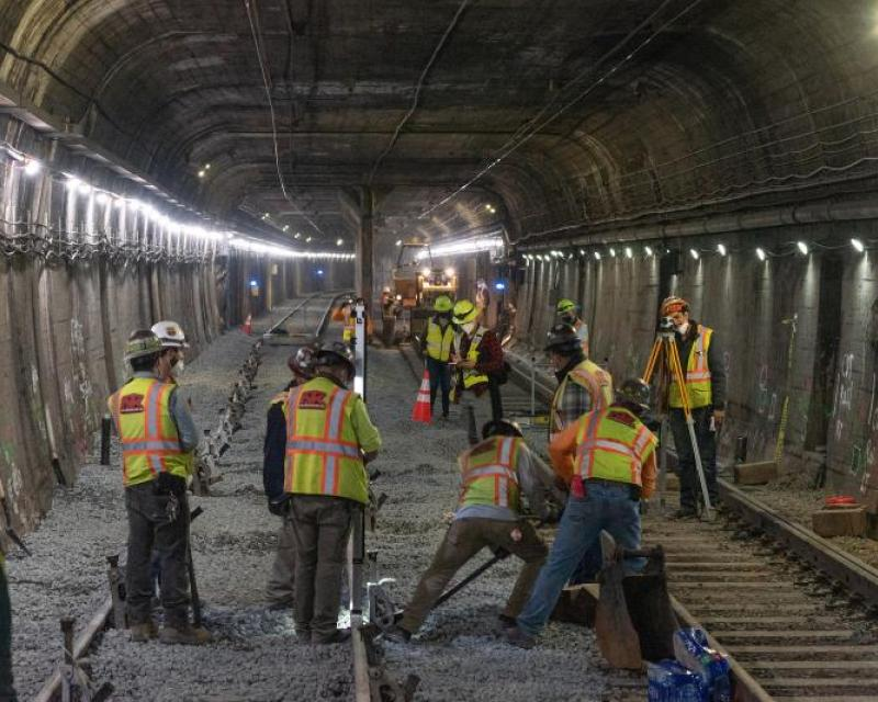workers in the Twin Peaks tunnel