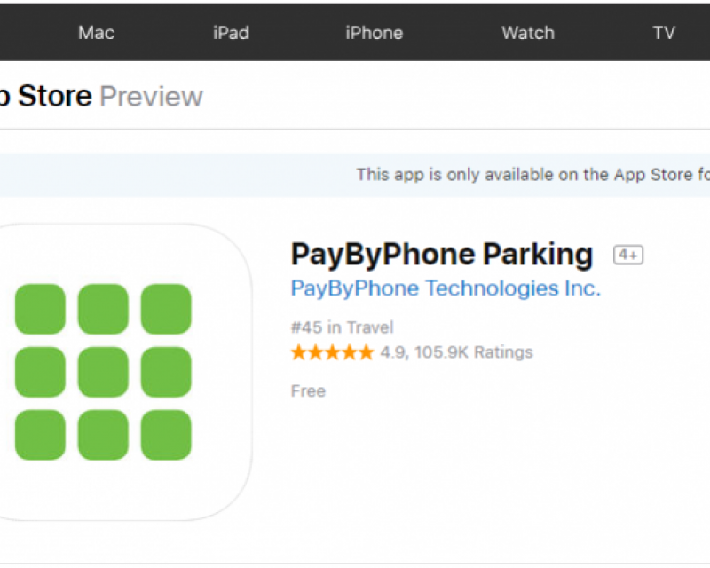 PayByPhone parking app in Apple App Store