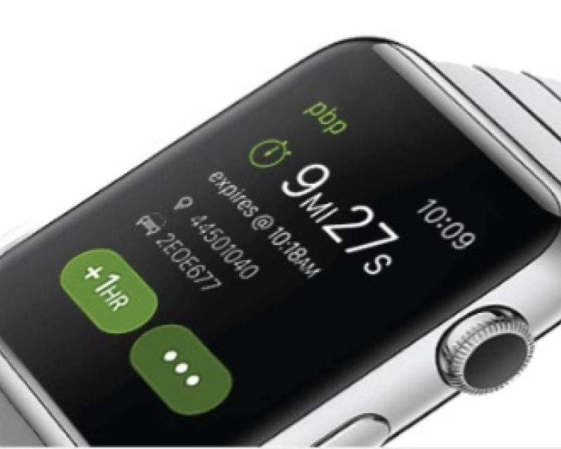 PayByPhone ap on Apple Watch showing pbp logo, time, time left, expiry time, meter number, pay-by-phone transaction, +1 hr, menu
