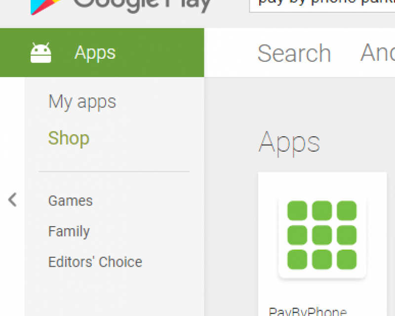 PayByPhone app in Google Play