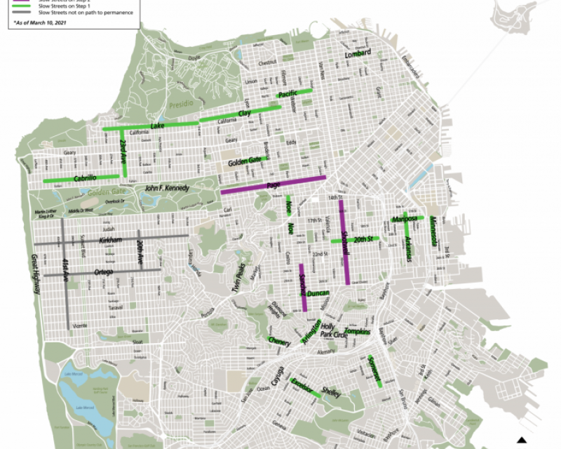Map of San Francisco's slow street network