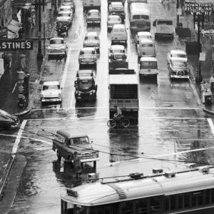 Overhead view of traffic on Kearny Street looking north from south side of Market Street in 1958.