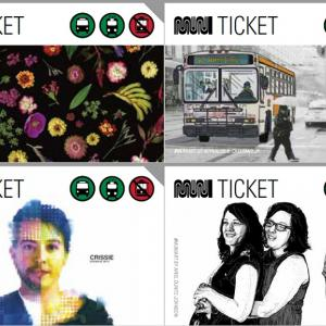 Four versions of Muni tickets with artwork.