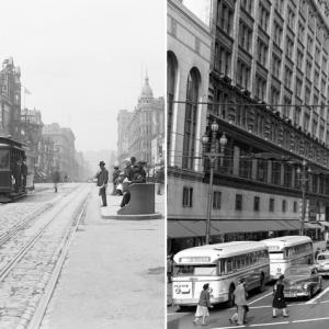 Two photographs showing a bustling downtown Market Street in 1906, with cable cars, and in 1948, with buses and streetcars.