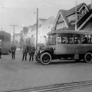 black and white photo taken in December 1917 showing a Muni streetcar