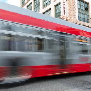 Blurred motion photo of Muni bus on O'Farrell Street