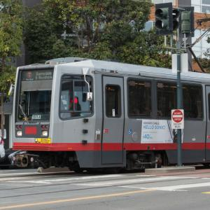 T-Third train on 3rd street in dogpatch/mission bay area