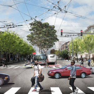 Rendering of Van Ness Avenue at Union Street after construction of the Van Ness Improvement Project is complete.
