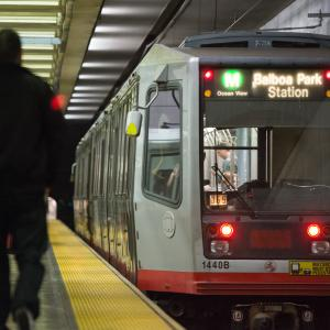 M Ocean View train inside the Muni Metro subway