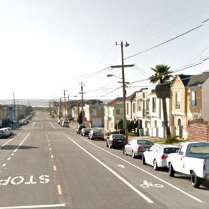 Image of bicycle lanes on Ortega Street in the Sunset that are similar to the planned bike lanes on Vicente Street