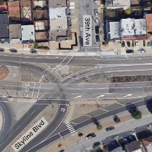 The image shown is an aerial view of the study intersection at Sloat & Skyline.