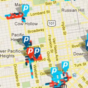 a map of downtown San Francisco, showing real-time parking data from SFpark