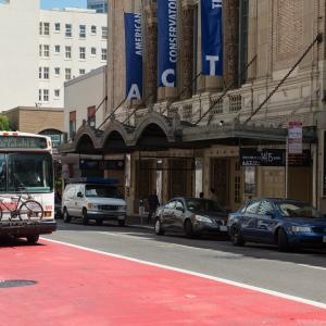 Red Transit Only lane on Geary Boulevard