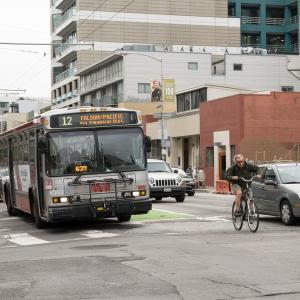 bus, cyclist, and auto traffic on Folsom Street