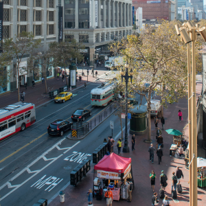 Photo of Market Street from above at Powell Street