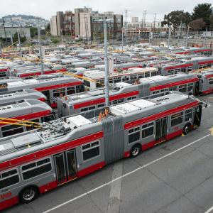 Trolley buses at the Potrero Yard