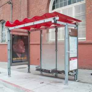 Muni shelter with red roof
