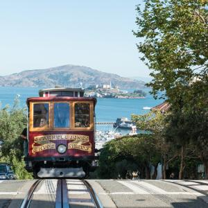 view of cable car and alcatraz