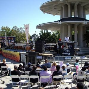 People in Japantown listening to music