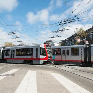 New LRV4 passing older Breda LRV on Market Street