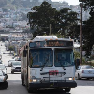 Image of the 54 Felton bus in the Oceanview neighborhood.