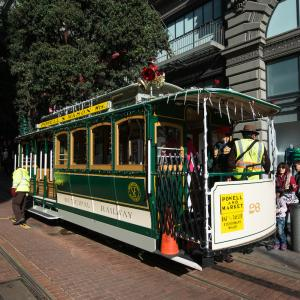 Powell Line Cable Car with Christmas decorations.
