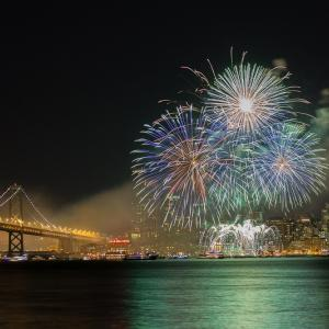 New Year fireworks over San Francisco bay.