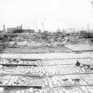 rubble and damaged streetcar tracks