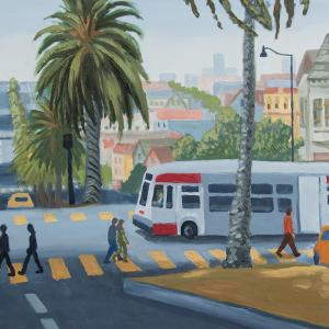 this image of art created for the Muni Art contest shows a Muni bus and people walking