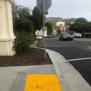 Traffic bulb-out at 9th and Pacheco.