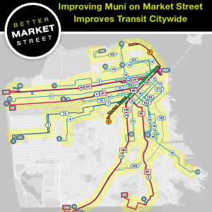 A map showing how the functionality of Market will help enhance transit to many parts of the City.