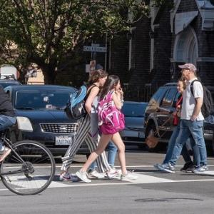 People walking and biking around San Francisco