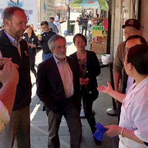Aaron Peskin and Interim Director of Transportation meeting with Chinatown merchants.