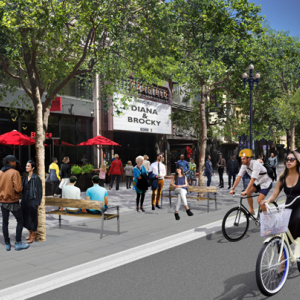 Rendering including Better Market Street's sidewalk level bike lane, new trees and improved streetscape elements.