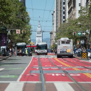 Red transit lanes on Market Street