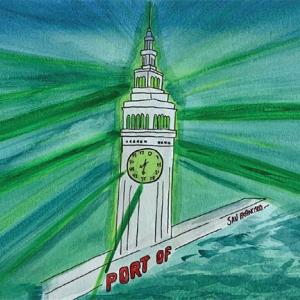 Vanessa Farardo's watercolor of the San Francisco Ferry Building as part of Muni Art 2020