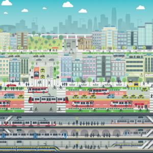 Artistic rendering of all modes of transportation inside San Francisco.