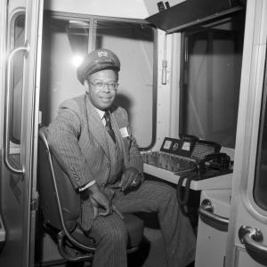 Welton Flynn inside Muni LRV operator compartment