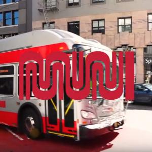 Bus in red transit lane