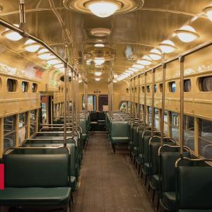 Image shows interior of historic street car
