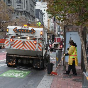 Street Sweeping taking place along Market Street