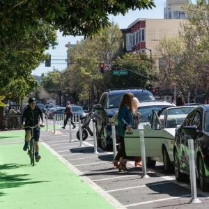 parking-protected bikeway on Valencia Street