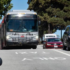 Photo of bus driving in transit lane