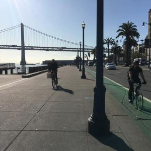 Embarcadero bike path and Bay Bridge