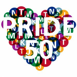 SFMTA Pride Heart with line letters in background