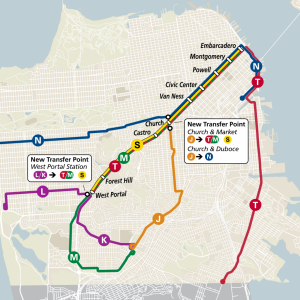 Map: Proposed new Muni Metro rail configuration.