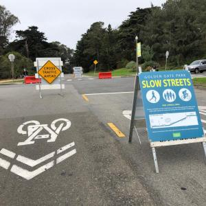 Golden Gate Park Slow Streets sign