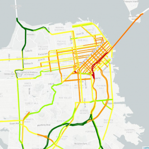 A map showing increased levels congestion in the Northeast part of San Francisco