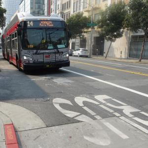 14 Mission on downtown transit lane in SoMa.